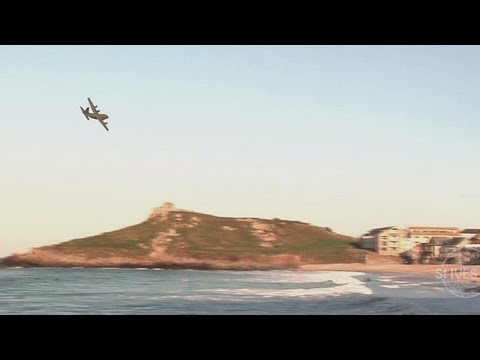 Porthmeor beach surf session nov 2012 + AC130 hercules passing by…