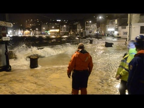 Storm surge strikes St Ives harbour